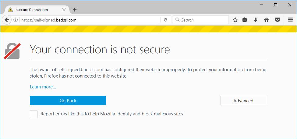 предупреждающее сообщение Firefox