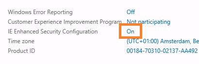 Конфигурацию усиленной безопасности Internet Explorer
