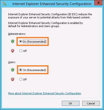 Конфигурацию усиленной безопасности Internet Explorer включена