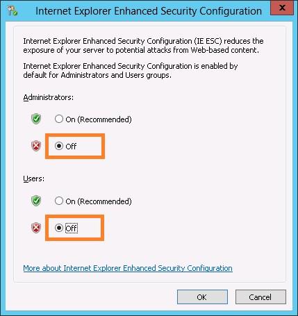 Конфигурацию усиленной безопасности Internet Explorer выключена