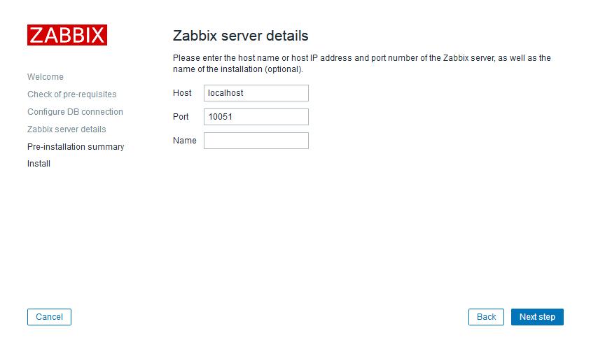 Параметры zabbix-сервера