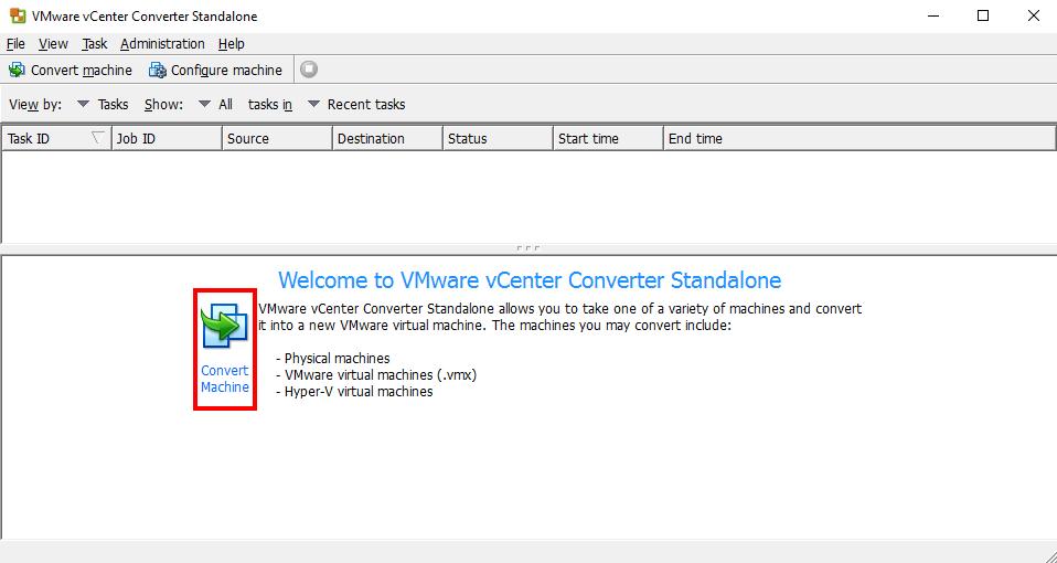 Преобразовать машины в VMware