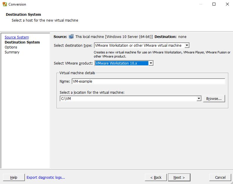 Название машины VMware