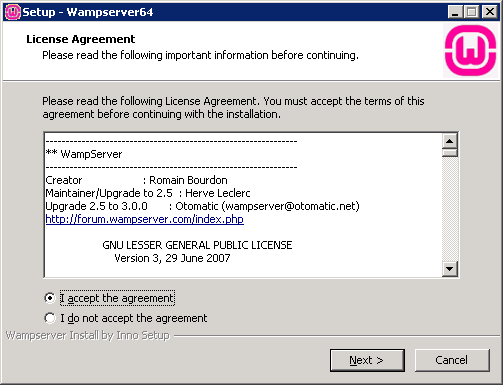setup wampserver accept the agreement