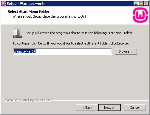 setup wampserver select start menu folder